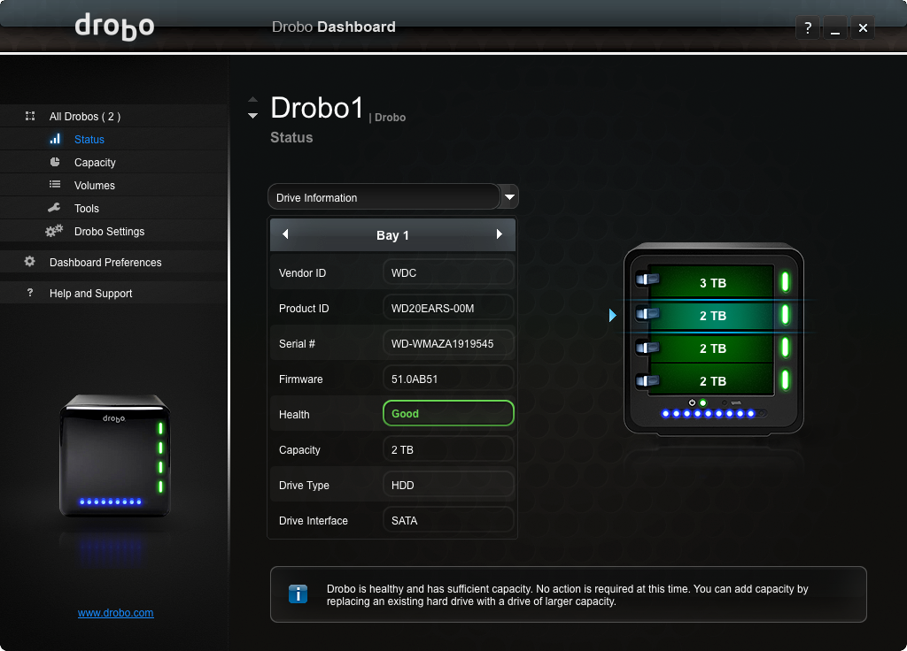 Drobo 3rd Gen: New HEALTH status for each installed drive, too!