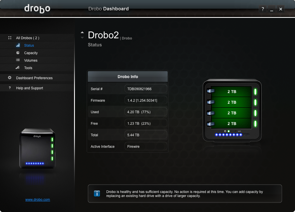 Drobo 2nd Gen: Much less status...