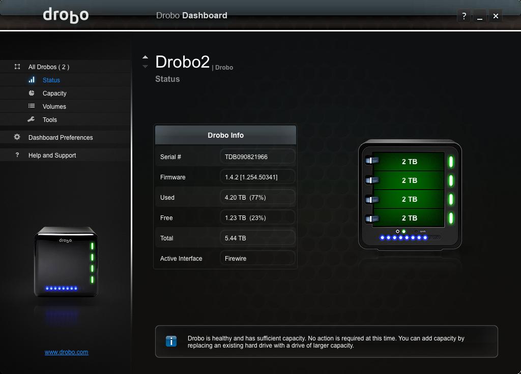 Drobo 2nd Gen: Much less status...