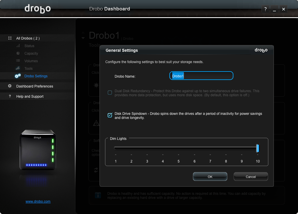Drobo 3rd Gen: Drobo Settings display.